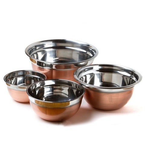 Prime Pacific Copper-finished Stainless Steel Euro-style Mixing Bowl (Set of 4)