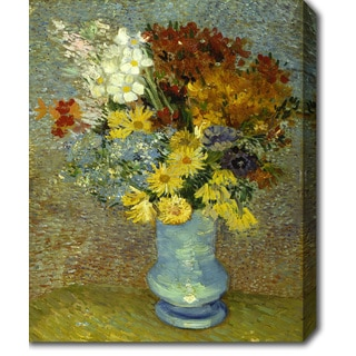 Vincent van Gogh 'Flowers in a Blue Vase' Oil on Canvas Art