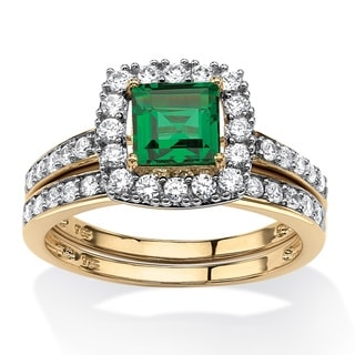 Glam CZ 18k Gold over Sterling Silver Princess-cut Created Emerald Halo Bridal Ring Set