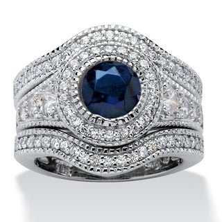 PalmBeach Platinum over Sterling Silver Glam CZ Cubic Zirconia and Created Sapphire 3-Piece Bridal Set