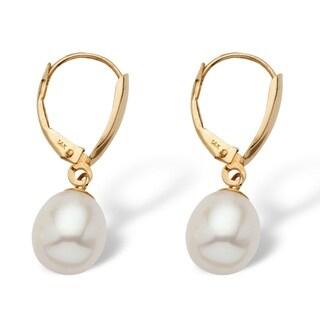 14k Yellow Gold Naturalist Freshwater Pearl Teardrop Earrings (7-8mm)