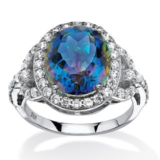 Platinum over Sterling Silver Mystic Fire Quartz and CZ Halo Ring