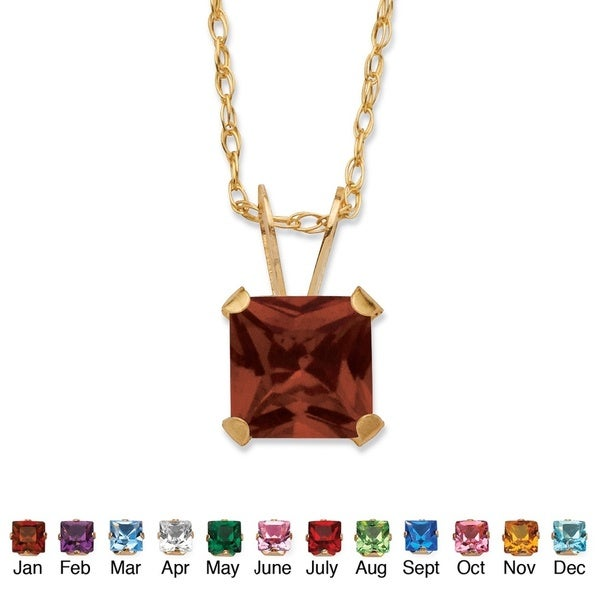 Color Fun 10k Yellow Gold Princess-cut Birthstone Necklace. Opens flyout.