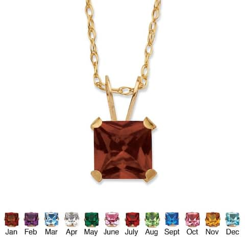 Color Fun 10k Yellow Gold Princess-cut Birthstone Necklace