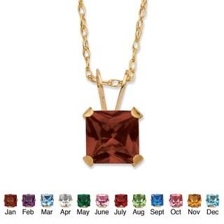 Color Fun 10k Yellow Gold Princess-cut Birthstone Necklace