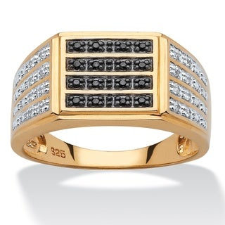 PalmBeach 18k Yellow Gold over Sterling Silver Men's 1/6ct TDW Black and White Diamond Multi-row Ring (H-I, I2-I3)