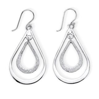 PalmBeach Tailored Sterling Silver Double Loop Drop Earrings