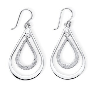 Tailored Sterling Silver Double Loop Drop Earrings