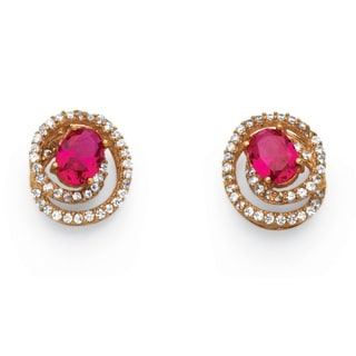 PalmBeach Glam CZ Rose Gold over Sterling Silver 2.66ct Created Ruby Swirl Earrings