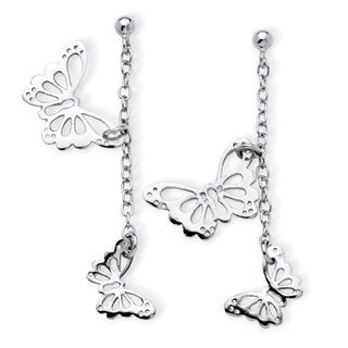 Tailored Sterling Silver Danging Cutout Butterfly Drop Earrings