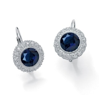 PalmBeach Glam CZ Platinum over Sterling Silver 5.52 TCW Round Sapphire Halo Drop Earrings
