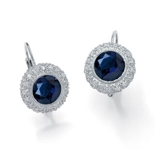 Glam CZ Platinum over Sterling Silver 5.52 TCW Round Sapphire Halo Drop Earrings