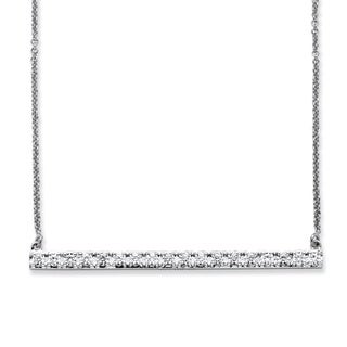 PalmBeach Classic CZ Platinum over Sterling Silver Round Cubic Zirconia Bar Necklace