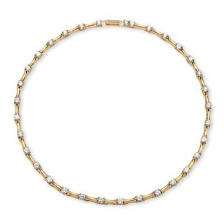 Classic CZ 14k Goldplated Cubic Zirconia Bamboo Link Necklace
