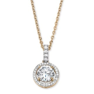 PalmBeach Classic CZ 14k Gold over Sterling Silver Cubic Zirconia Floating Halo Necklace