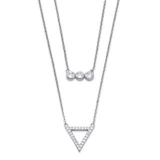PalmBeach .52 TCW Cubic Zirconia Geometric Double Strand Necklace in Rhodium-Plated .925 Sterling Silver Classic CZ