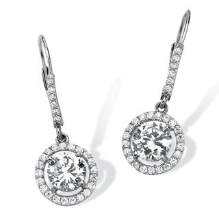 PalmBeach Classic CZ Platinum over Sterling Silver Round Cubic Zirconia Floating Halo Drop Earrings