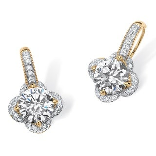 Glam CZ 14k Gold over Sterling Silver Round Cubic Zirconia Clover Drop Earrings