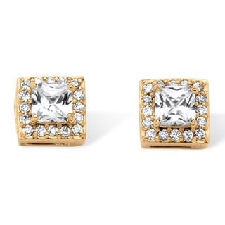 PalmBeach Classic CZ Gold over Sterling Silver Princess-cut Cubic Zirconia Halo Earrings Set