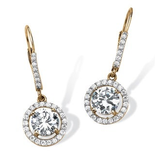 PalmBeach Classic CZ 14k Gold over Silver Cubic Zirconia Floating Halo Drop Earrings