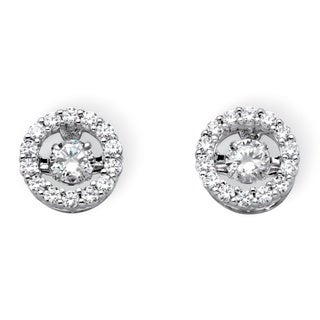 "PalmBeach 1.92 TCW Round Cubic Zirconia ""CZ in Motion"" Halo Stud Earrings in Platinum over Sterling Silver Classic CZ"