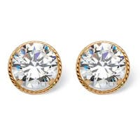 Glam CZ 14k Yellow Gold 4ct Round Cubic Zirconia Martini Set Stud Earrings
