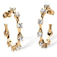 Yellow Gold-Plated Hoop Earrings (30mm) Round Cubic Zirconia (4 cttw TDW)