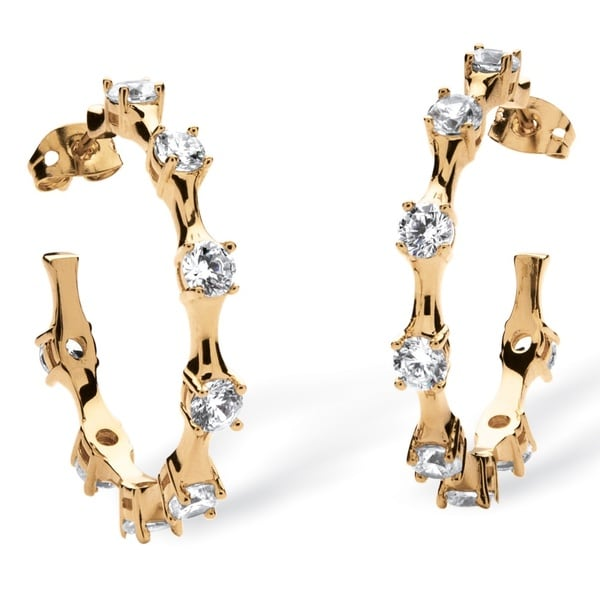 Glam CZ Goldplated Round Cubic Zirconia Bamboo Hoop Earrings