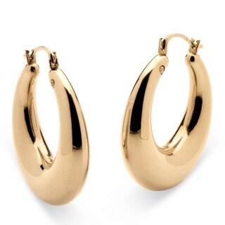 Tailored 14k Gold Nano Diamond Resin-filled Polished Tube Hoop Earrings