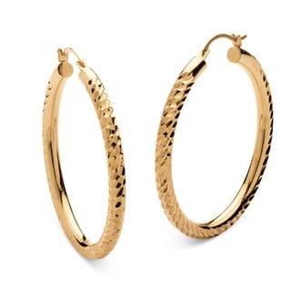 PalmBeach Tailored 14k Gold Nano Diamond Resin-filled Diamond-cut Twist Hoop Earrings