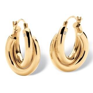 Tailored 14k Gold Nano Diamond Resin-filled Double Twist Hoop Earrings