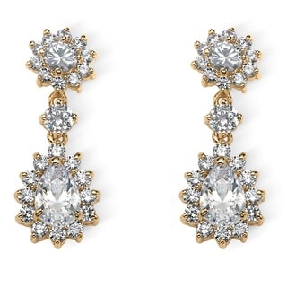 PalmBeach Glam CZ 14k Yellow Goldplated Pear-cut and Round Cubic Zirconia Halo Drop Earrings