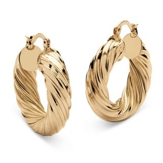 PalmBeach Tailored Goldtone Twist Hoop Earrings