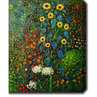 Gustav Klimt 'Garden with Sunflowers' Oil on Canvas Art - Multi