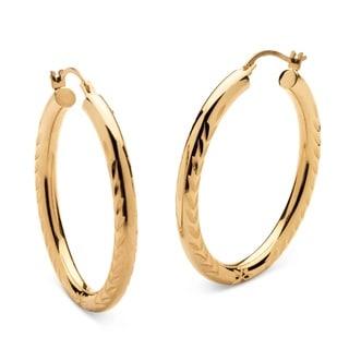 PalmBeach Tailored 14k Gold Nano Diamond Resin-filled Diamond-cut Hoop Earrings