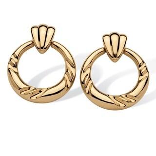 Tailored 14k Gold Nano Diamond Resin-filled Decorative Circle Earrings