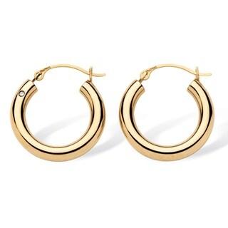 Tailored 14k Gold Nano Diamond Resin-filled Hoop Earrings