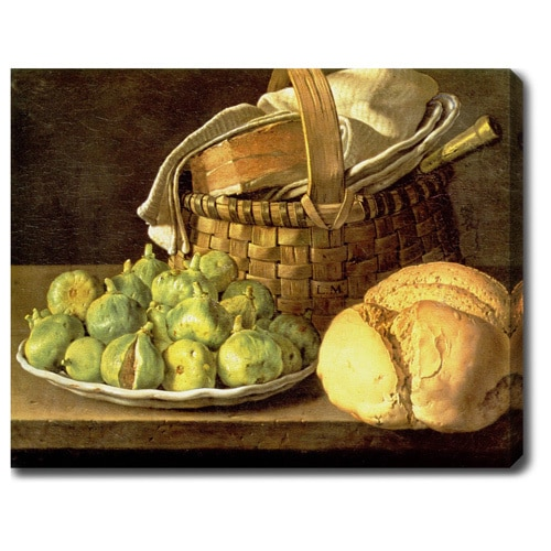 Luis Egidio Mel�ndez 'Still Life with Melon and Pears' Oil on Canvas Art - Multi