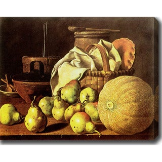 Luis Mel�ndez 'Still Life, Melon and Pears' Oil on Canvas Art
