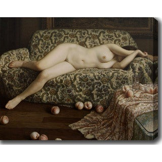 Nude Woman on the Couch' Oil on Canvas Art