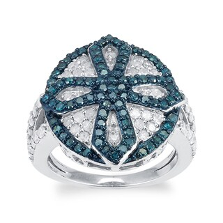 Sterling Silver 1.50ct TDW Blue and White Diamond Circle Ring