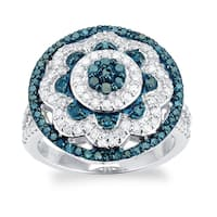 Sterling Silver 1.0ct TDW Blue and White Diamond Ring