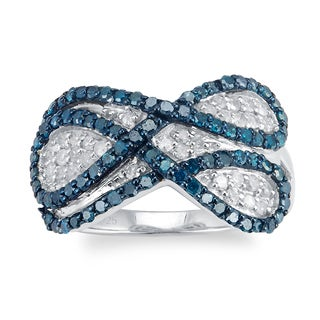 Sterling Silver 1.0ct TDW Blue and White Diamond Infinity Ring