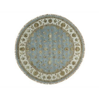 Round Wool and Silk Rajasthan Hand Knotted Oriental Rug (10' x 10')