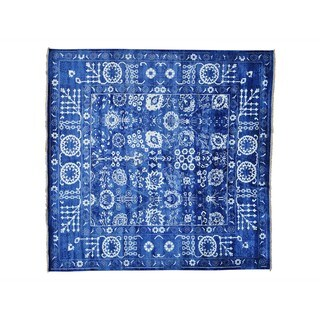 Square Wool and Viscose Rayon from Bamboo Tabriz Handmade Oriental Rug - 10' x 10'