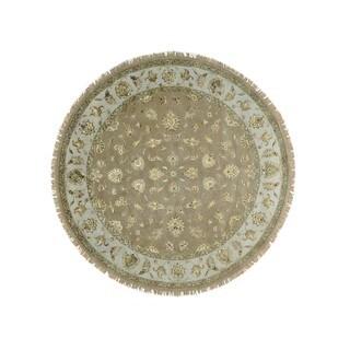 Round Wool and Silk Beige Rajasthan Oriental Rug Handmade (9'4 x 9'4)