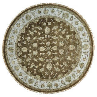 Round Wool and Silk Rajasthan Handmade Oriental Rug (10'1 x 10'3)