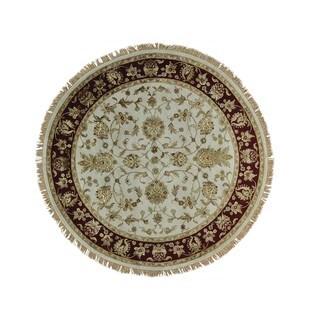 Round Ivory Rajasthan Wool and Silk Handmade Oriental Rug (7' x 7')