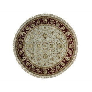 Round All Over Design Rajasthan Wool and Silk Handmade Rug (8' x 8')