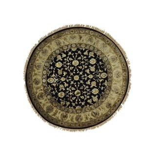 Round Wool and Silk Black Rajasthan Handmade Oriental Rug (6' x 6')